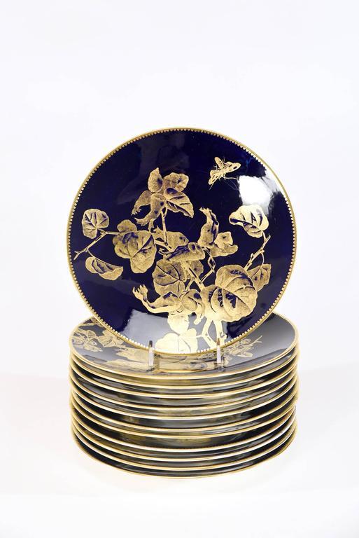 English 12 Brownfield Aesthetic Movement Cobalt Blue Gold Fruit Dessert Plates For Sale