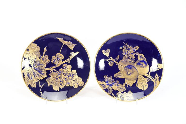 Gilt 12 Brownfield Aesthetic Movement Cobalt Blue Gold Fruit Dessert Plates For Sale