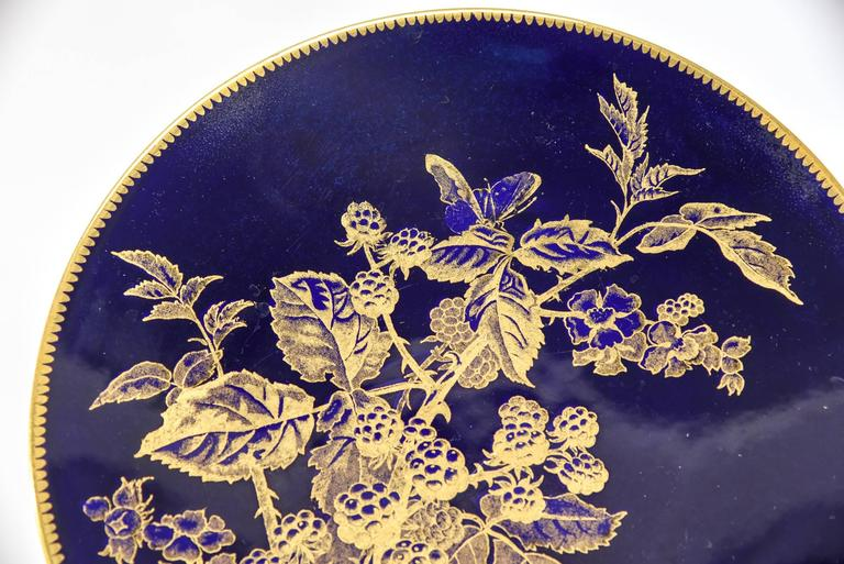 12 Brownfield Aesthetic Movement Cobalt Blue Gold Fruit Dessert Plates In Excellent Condition For Sale In Great Barrington, MA