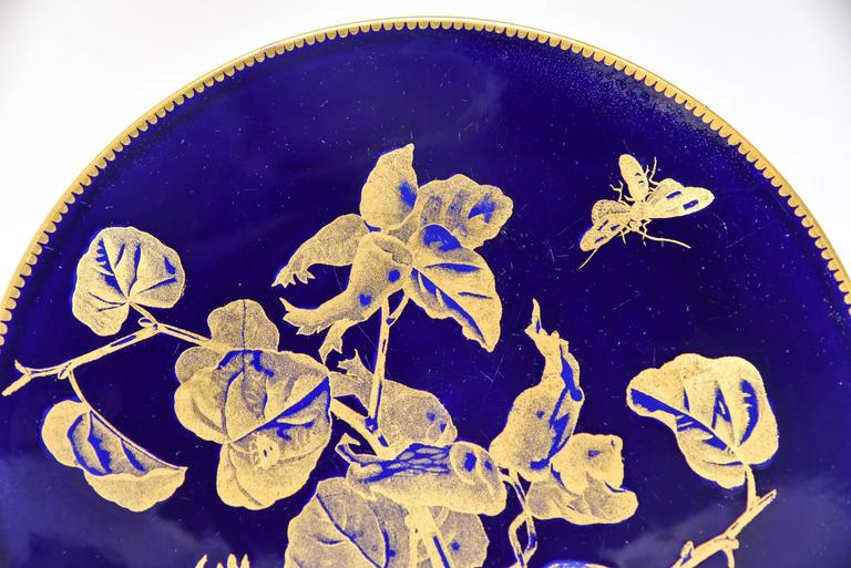 Late 19th Century 12 Brownfield Aesthetic Movement Cobalt Blue Gold Fruit Dessert Plates For Sale