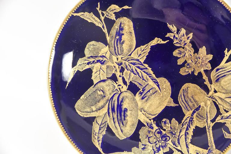 Porcelain 12 Brownfield Aesthetic Movement Cobalt Blue Gold Fruit Dessert Plates For Sale