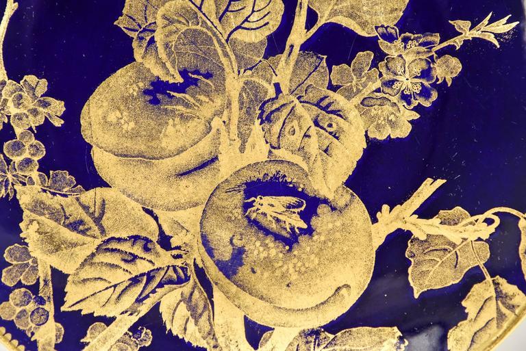 12 Brownfield Aesthetic Movement Cobalt Blue Gold Fruit Dessert Plates For Sale 1