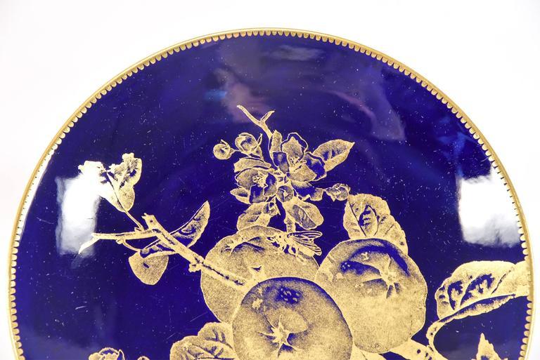 12 Brownfield Aesthetic Movement Cobalt Blue Gold Fruit Dessert Plates For Sale 2