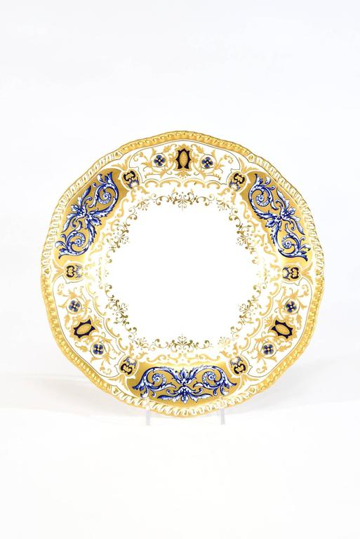 Neoclassical 12 Coalport for Tiffany 1899 Gold, Ivory and Cobalt Blue Dinner Plates For Sale