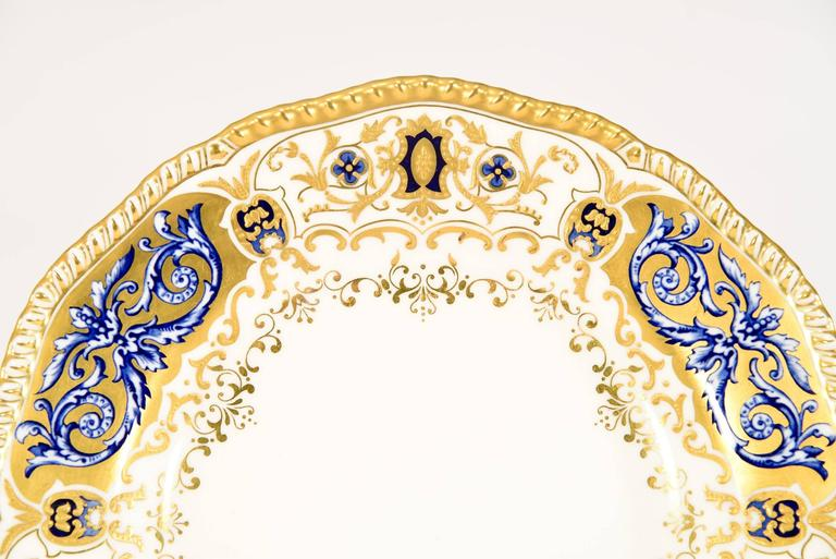 English 12 Coalport for Tiffany 1899 Gold, Ivory and Cobalt Blue Dinner Plates For Sale