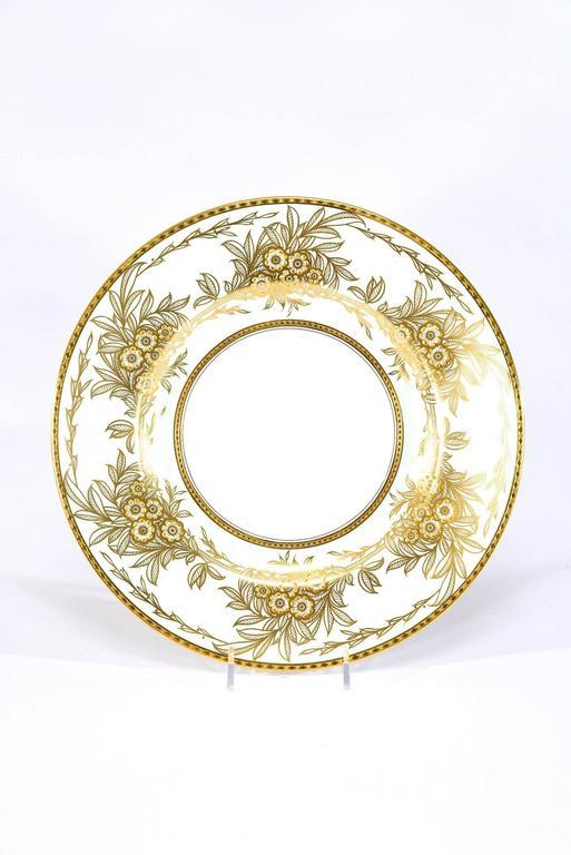 Arts and Crafts Set of 13 Minton Dinner Plates Soft Blue Green Raised Paste Gold Leaf Pattern For Sale