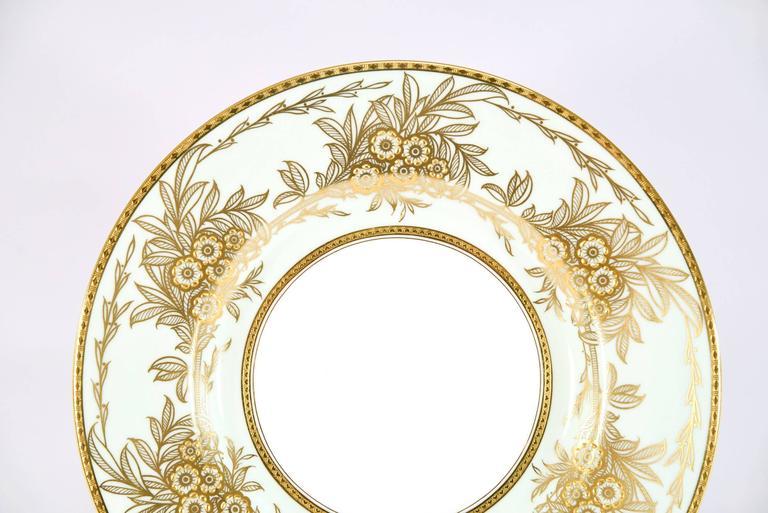 English Set of 13 Minton Dinner Plates Soft Blue Green Raised Paste Gold Leaf Pattern For Sale