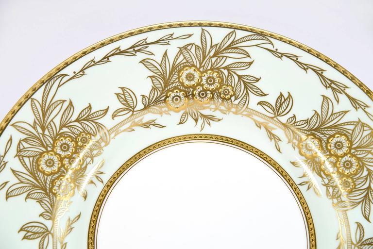 Gilt Set of 13 Minton Dinner Plates Soft Blue Green Raised Paste Gold Leaf Pattern For Sale
