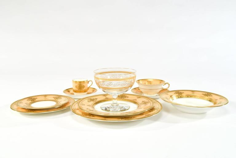 English Minton for Tiffany Complete Dinner Service for 12 Caramel, White & Raised Gold For Sale
