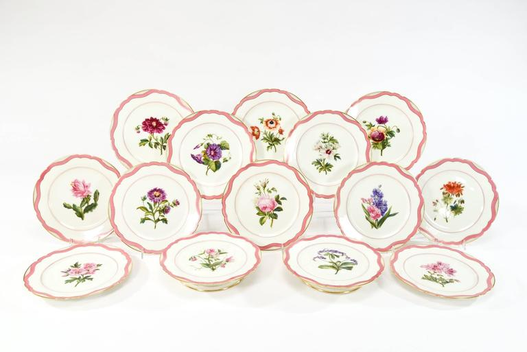 "This is an extensive and exquisite 19th century dessert service made by Rihouet, Paris, circa 1820s. Each piece is superbly hand painted with a unique botanical specimen framed by the iconic ""Rose DuBarry"" ribbon border and trimmed in"