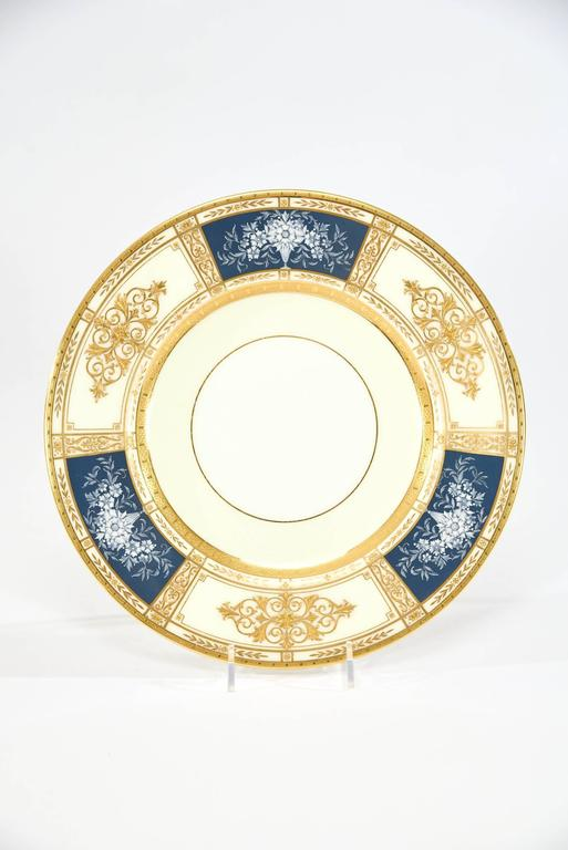 Neoclassical 12 Minton French Enamel Pate Sur Pate Artist Signed Marshall Dinner Plates For Sale