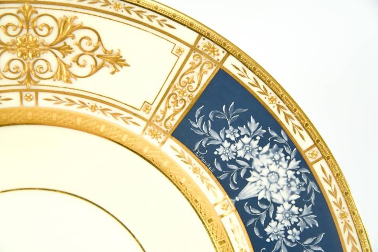English 12 Minton French Enamel Pate Sur Pate Artist Signed Marshall Dinner Plates For Sale