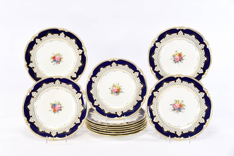 Royal Crown Derby Dessert Service with Cobalt Blue, Gold & Hand-Painted Flowers In Excellent Condition For Sale In Great Barrington, MA