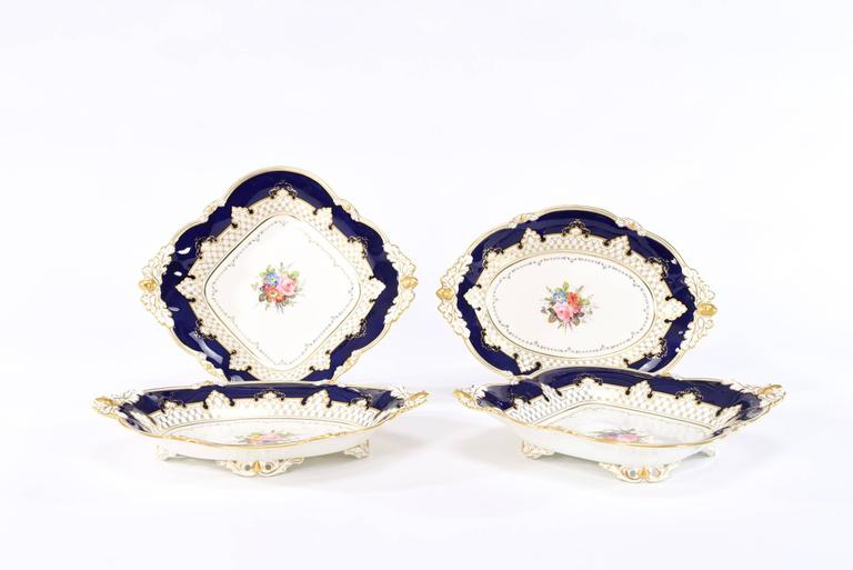Early 20th Century Royal Crown Derby Dessert Service with Cobalt Blue, Gold & Hand-Painted Flowers For Sale