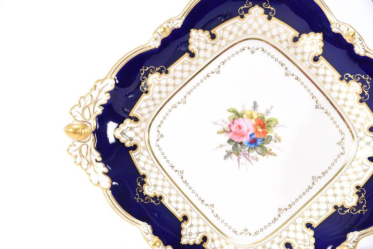 Royal Crown Derby Dessert Service with Cobalt Blue, Gold & Hand-Painted Flowers For Sale 1