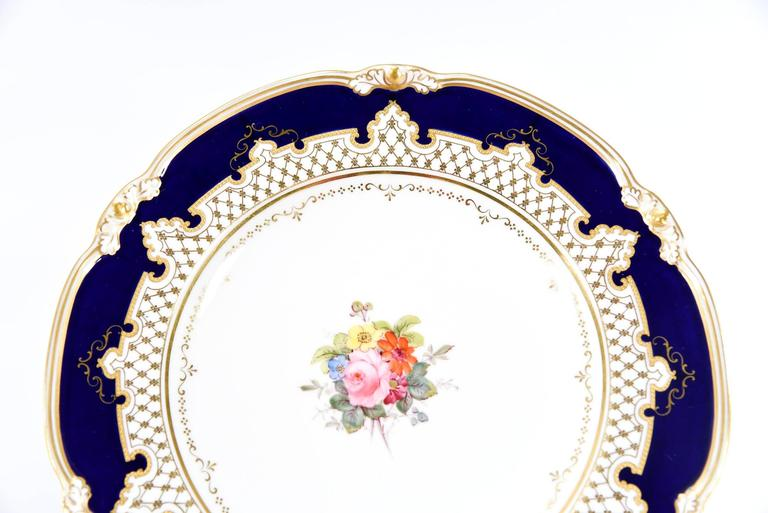 Royal Crown Derby Dessert Service with Cobalt Blue, Gold & Hand-Painted Flowers For Sale 2