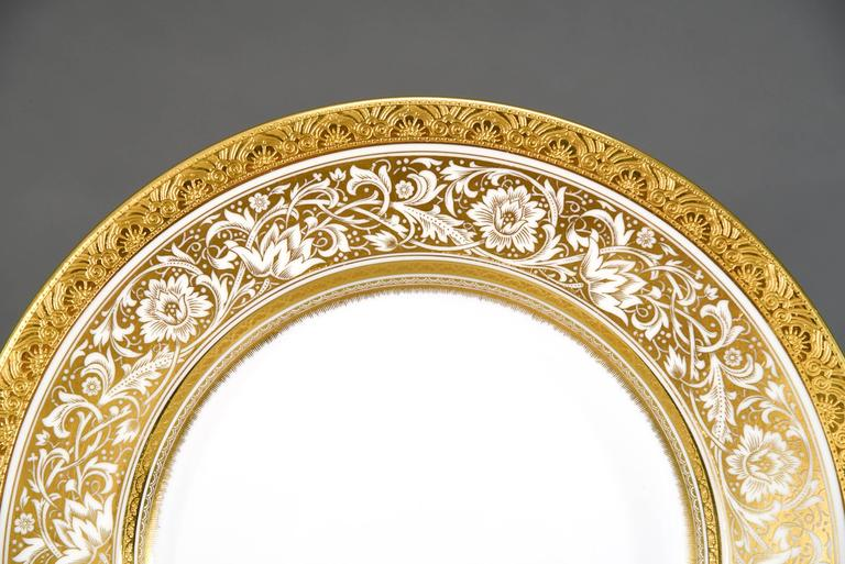 Gilt Set of 12 Minton Gold Rimmed Porcelain Ball Dinner Plates For Sale
