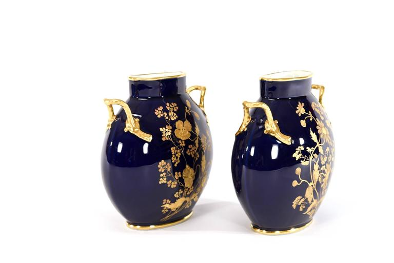 Pair Of Limoges Cobalt Blue And Raised Paste Gold Vases With Floral
