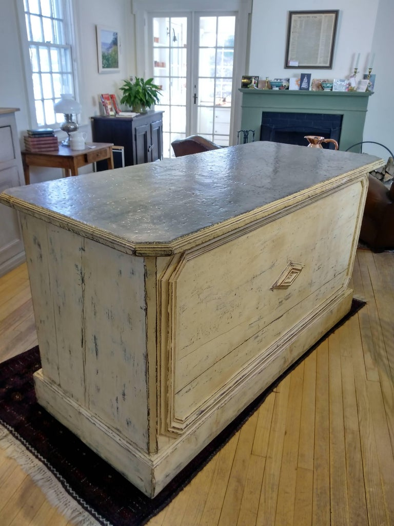 Late 19th Century French Zinc Top Bakery Store Counter For Sale