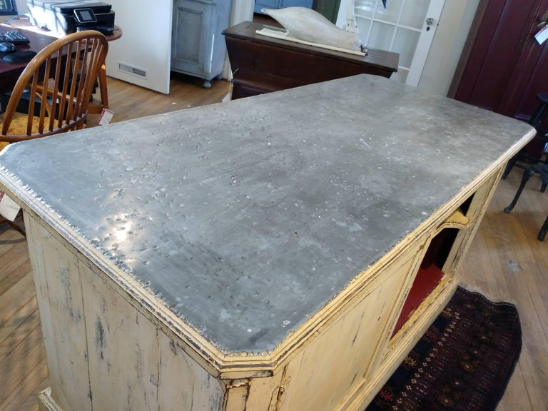 French Zinc Top Bakery Store Counter In Excellent Condition For Sale In Sheffield, MA