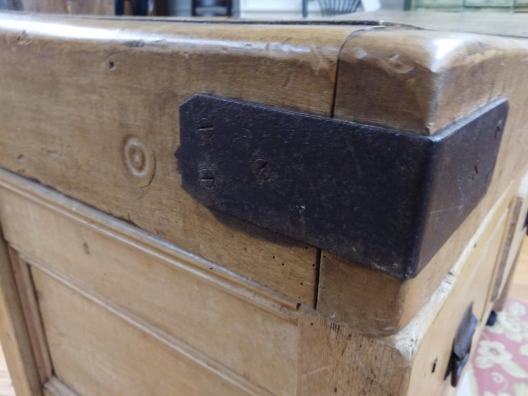 19th Century Original English Butcher Block with Two Drawers For Sale
