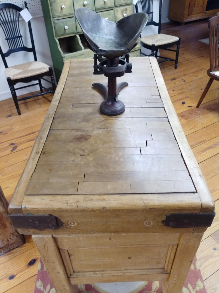 Maple Original English Butcher Block with Two Drawers For Sale