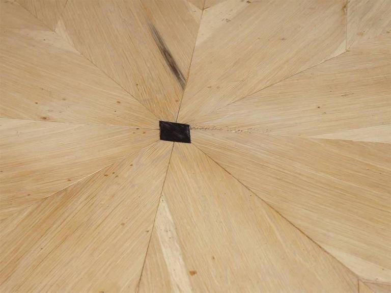 Baroque Round Starburst Design Bleached Oak Dining Table For Sale