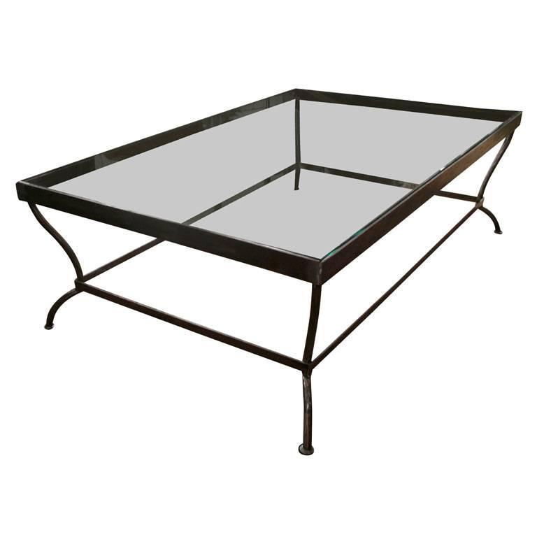 Custom-Made Glass and Polished Iron Coffee Table by BH & A 1