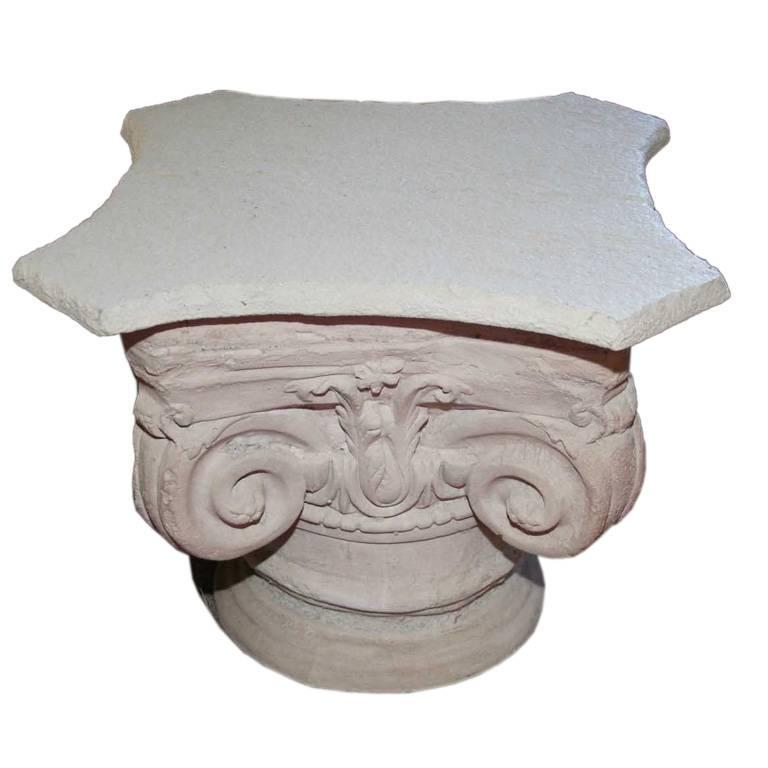 Pair of Cast Concrete Capital Coffee Table or Side Table 1