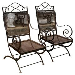 Pair of 19th Century French Metal Throne Style Garden Armchairs