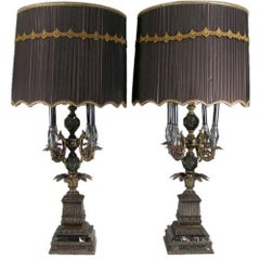 Pair of Large Glass and Metal Lamps on Marble Bases