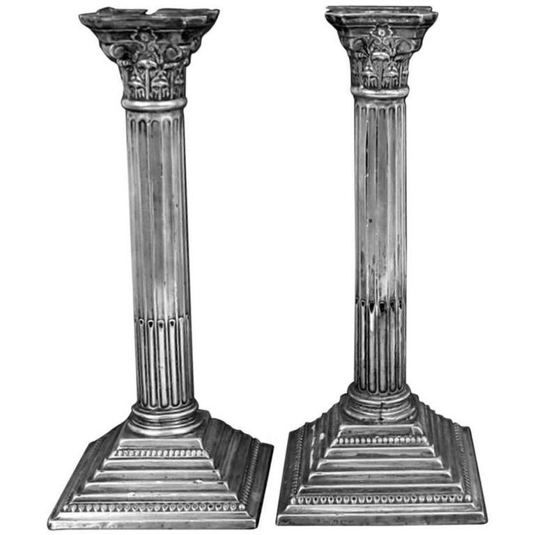 Georgian Corinthian Column Sterling Candlesticks For Sale