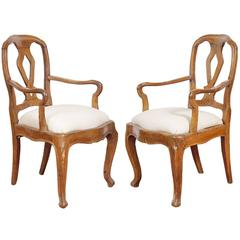 Hand-Carved Country Style Italian Chairs, Pair