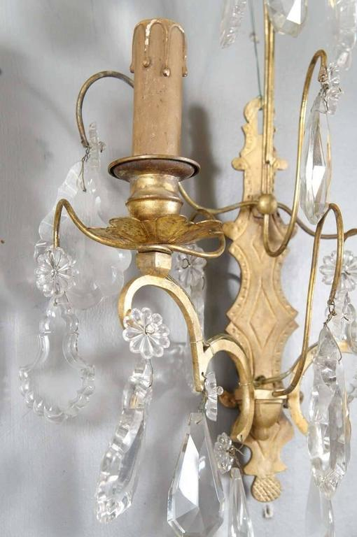 Rococo Classic French Crystal Sconces, Pair For Sale