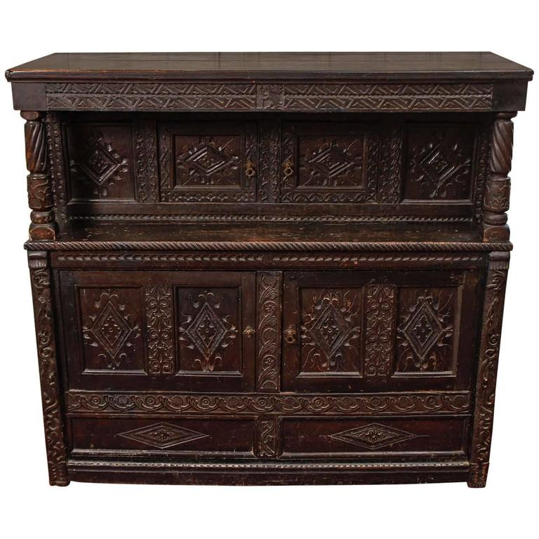 17th Century Jacobean Carved Oak Two-Piece Sideboard Cabinet