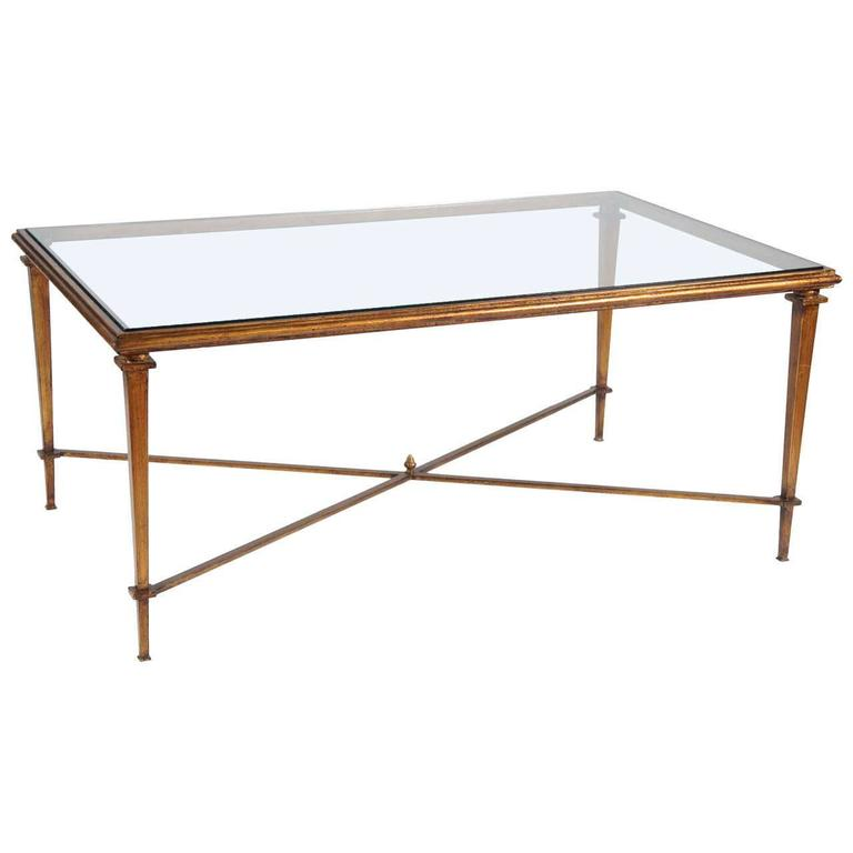 Neoclassical Style Metal Coffee Table with Glass Top For Sale