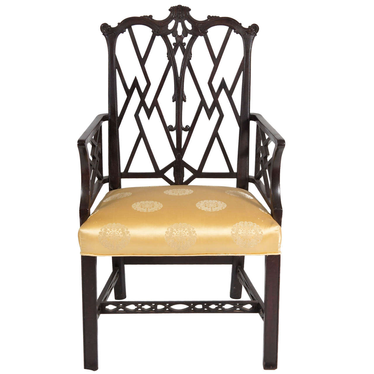 Incroyable Chinese Chippendale Style Arm Chair For Sale