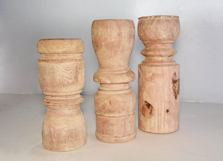 Country Collection of Antique Rustic Turn Wood Candleholders For Sale