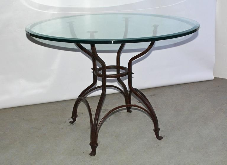 Neoclassical Garden Metal Base Glass Top Dining Table For