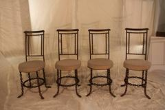 Set of Four Iron Chainlink Garden Chairs