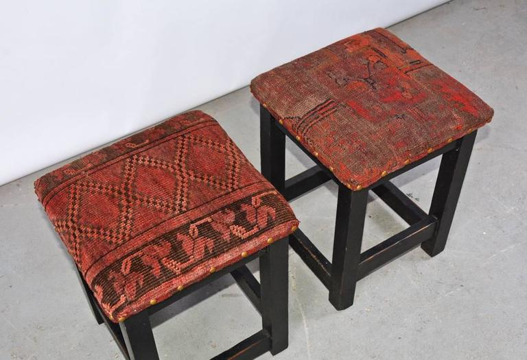 Mid-Century Modern Pair of Contemporary Kilim Covered Stools For Sale