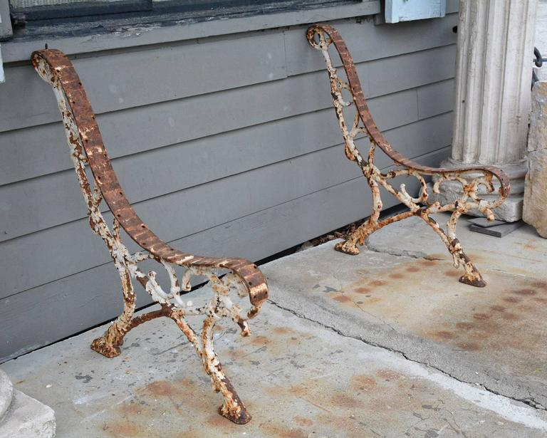 Antique French Cast Iron Garden Bench Supports