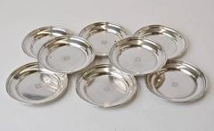 Eight Art Deco Sterling Wine Glass Coasters by Cartier