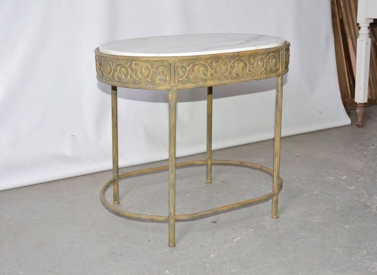 Vintage Neoclassical Metal Base Side Table For Sale At 1stdibs