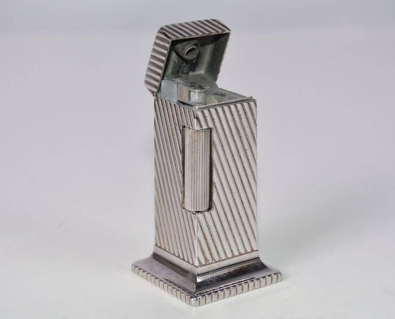 British Dunhill Rollalite Silver Plated Table Lighter For Sale