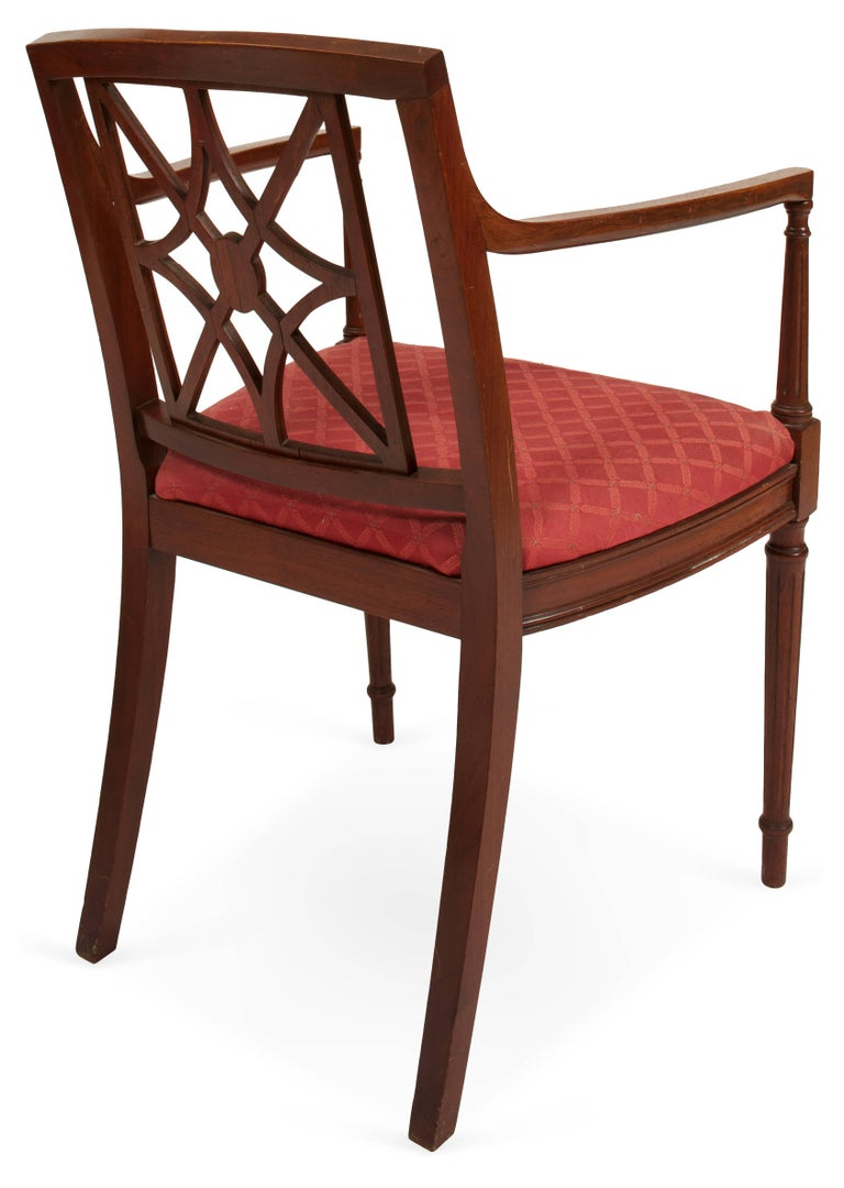 Hand-Crafted Sheraton Style Fretwork Armchair For Sale