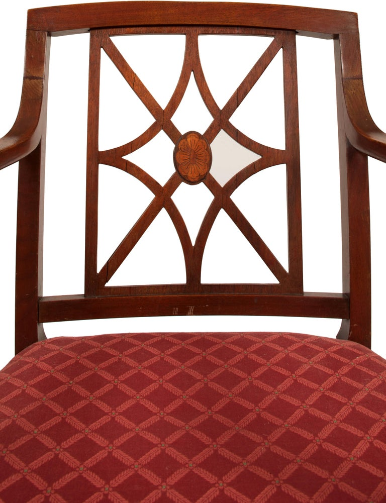 American Sheraton Style Fretwork Armchair For Sale