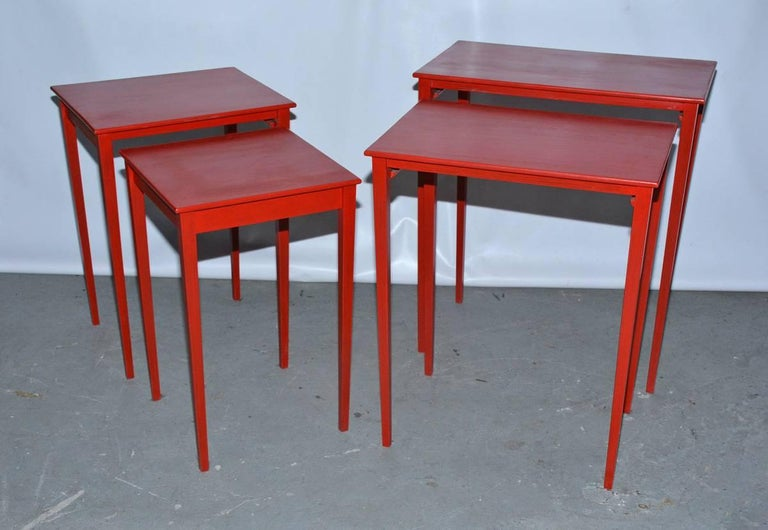 Mid-Century Modern Vintage Four-Piece Red Lacquer Nesting Tables For Sale