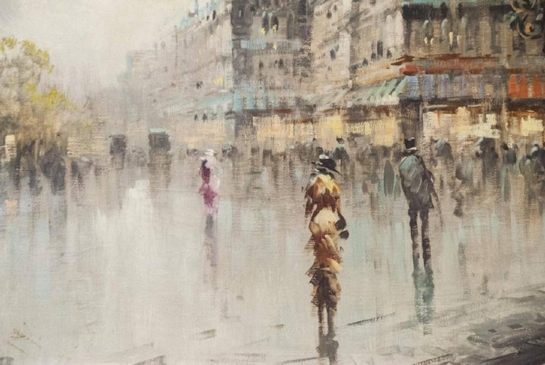 Expressionist Oil on Canvas Paris Street Scene For Sale