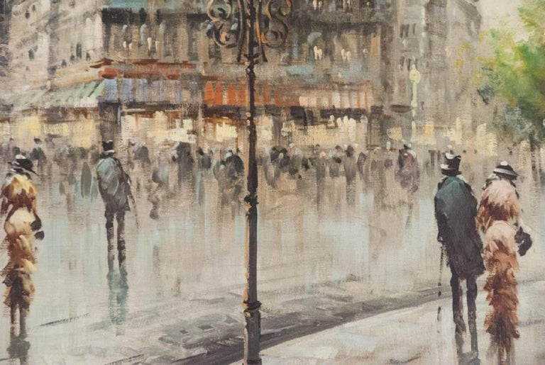 French Oil on Canvas Paris Street Scene For Sale
